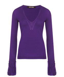 Roberto Cavalli | Приталенный Пуловер С V-Образным Вырезом С Кружевной Отделкой