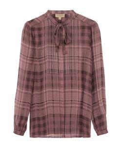 Burberry Brit | Шелковая Блуза В Клетку С Воротником Аскот