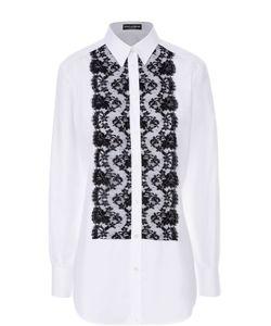Dolce & Gabbana | Удлиненная Блуза С Контрастной Кружевной Отделкой