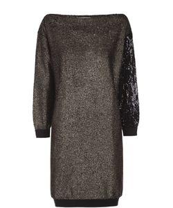 Sonia Rykiel | Мини-Платье С Металлизированной Отделкой И Вырезом-Лодочка