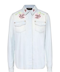 Roberto Cavalli | Джинсовая Блуза Прямого Кроя С Цветочной Вышивкой