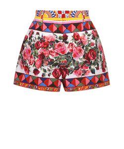 Dolce & Gabbana | Хлопковые Мини-Шорты С Ярким Принтом