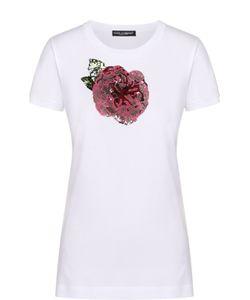 Dolce & Gabbana | Приталенная Футболка С Контрастной Вышивкой Пайетками