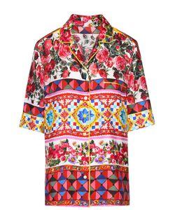 Dolce & Gabbana | Шелковая Блуза В Пижамном Стиле С Ярким Принтом