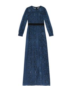 Burberry   Шелковое Платье В Пол С Контрастным Поясом