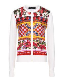 Dolce & Gabbana | Шелковый Кардиган С Вязаными Рукавами И Ярким Принтом