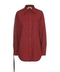 No. 21 | Блуза Прямого Кроя В Клетку С Декоративной Отделкой