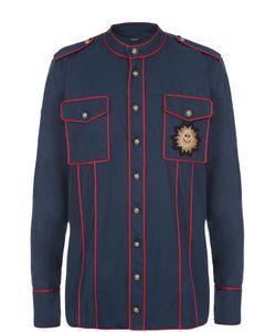 Balmain   Хлопковая Рубашка С Контрастным Кантом И Нашивкой