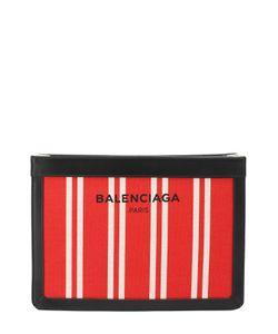 Balenciaga | Клатч Navy Из Текстиля С Кожаной Отделкой