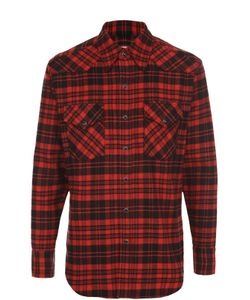 Saint Laurent | Хлопковая Рубашка В Клетку На Кнопках