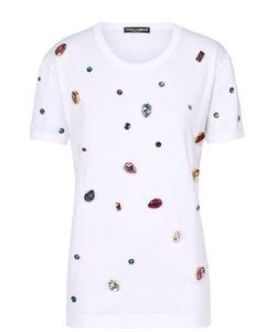Dolce & Gabbana | Футболка Прямого Кроя С Кристаллами