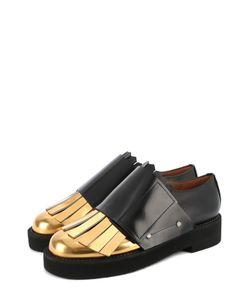 Marni | Кожаные Ботинки С Контрастной Вставкой И Бахромой