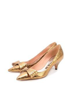 Rochas | Туфли Из Металлизированной Кожи С Бантом