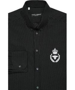 Dolce & Gabbana | Хлопковая Рубашка С Воротником Button Down И Вышивкой