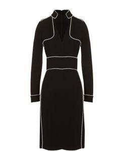 Burberry   Мини-Платье С V-Образным Вырезом И Контрастной Отделкой