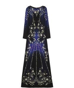 Roberto Cavalli | Приталенное Платье В Пол С Длинным Рукавом И Вышивкой