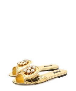 Dolce & Gabbana | Кружевные Шлепанцы Bianca С Кристаллами