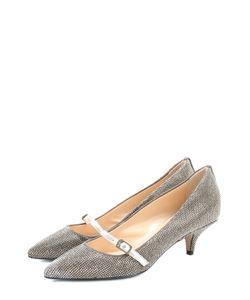No. 21 | Кожаные Туфли Со Стразами На Низком Каблуке