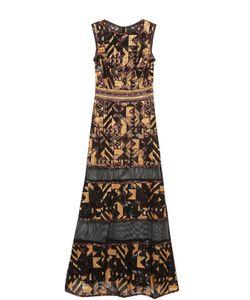 Tadashi Shoji | Полупрозрачное Приталенное Платье-Макси С Пайетками