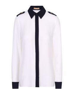 Michael Kors | Шелковая Приталенная Блуза С Контрастной Отделкой