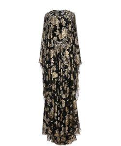 Dolce & Gabbana | Шелковое Платье Асимметричного Кроя С Подолом И Металлизированной Отделкой Dolce