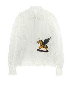Dolce & Gabbana | Кружевная Блуза С Воротником Аскот И Контрастной Отделкой