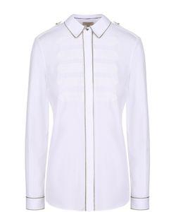 Burberry | Блуза Прямого Кроя С Погонами И Металлизированной Отделкой