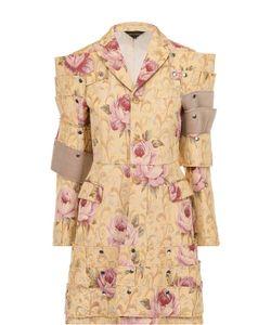 Comme Des Garcons | Приталенное Пальто С Декоративной Отделкой И Цветочным Принтом