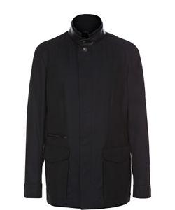 Brioni | Куртка Из Смеси Хлопка И Шелка С Отделкой Из Натуральной Кожи