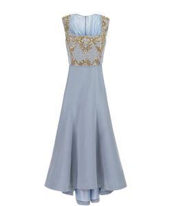 Oscar de la Renta | Шелковое Платье В Пол С Контрастной Вышивкой Бисером И Кристаллами Oscar
