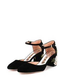 Rochas | Туфли Из Текстиля С Цветочной Вышивкой