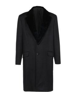 Brioni | Однобортное Пальто Из Смеси Шерсти И Кашемира С Меховой Отделкой Воротника