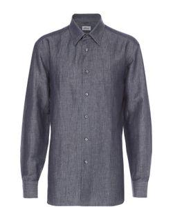 Brioni | Рубашка Из Смеси Льна И Хлопка С Воротником Кент