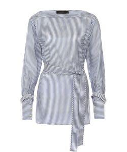 Calvin Klein Collection | Блуза В Полоску С Поясом И Вырезом-Лодочка