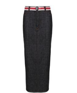 Victoria, Victoria Beckham | Джинсовая Юбка-Карандаш С Высоким Разрезом И Контрастным Поясом Victoria By Victoria