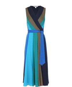 Diane Von Furstenberg | Шелковое Платье-Миди В Контрастную Полоску С Запахом