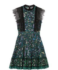 Valentino | Мини-Платье С Плиссированной Юбкой И Кружевной Отделкой