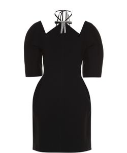 Marni | Приталенное Мини-Платье С Объемными Рукавами И Декоративной Отделкой