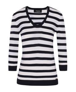 Dsquared2 | Приталенный Пуловер В Контрастную Полоску С Укороченным Рукавом