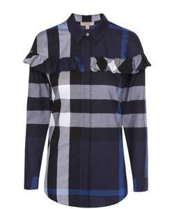 Burberry | Хлопковая Блуза Прямого Кроя В Клетку С Оборкой