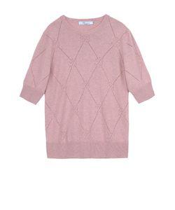 Blumarine | Кашемировый Пуловер С Укороченным Рукавом И Перфорацией