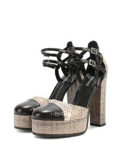 Roberto Cavalli | Кожаные Туфли С Тиснением На Устойчивом Каблуке