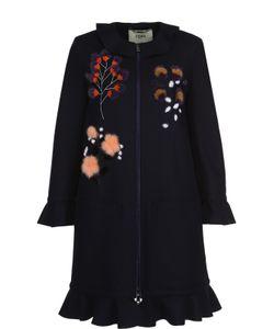 Fendi | Пальто Прямого Кроя С Накладными Карманами И Меховой Отделкой
