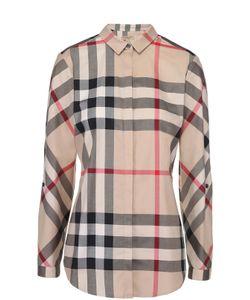 Burberry   Приталенная Хлопковая Блуза В Клетку