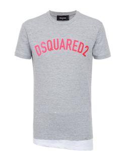 Dsquared2 | Хлопковая Футболка Ассиметричного Кроя С Декоративными Потертостями