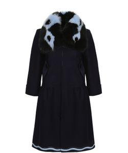 Fendi | Пальто Прямого Кроя С Укороченным Рукавом И Контрастной Меховой Отделкой
