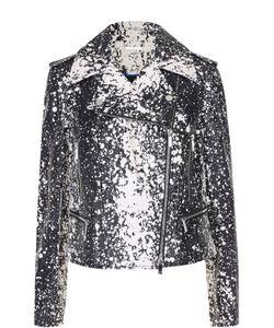 Diane Von Furstenberg   Укороченная Кожаная Куртка С Косой Молнией И Контрастным Принтом Diane Von
