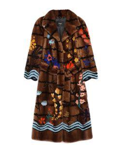 Fendi | Удлиненное Меховое Пальто Из Норки С Контрастным Принтом