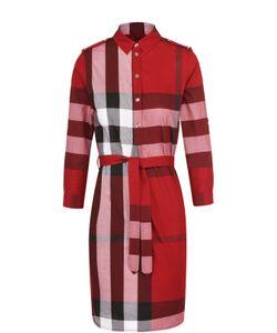 Burberry   Платье-Рубашка В Клетку С Поясом И Погонами