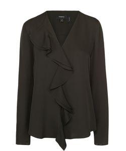 Theory | Шелковая Блуза Прямого Кроя С V-Образным Вырезом И Оборками
